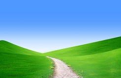 Sommerlandschaft mit grünem Gras, Straße und Wolken Stockfotografie