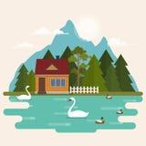 Sommerlandschaft mit Waldhaus auf dem See Lizenzfreies Stockfoto
