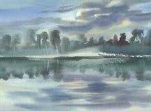 Sommerlandschaft mit Wolken und Seeaquarell Lizenzfreie Stockfotos