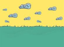 Sommerlandschaftillustration mit Wolken in der flachen Art Stockbild