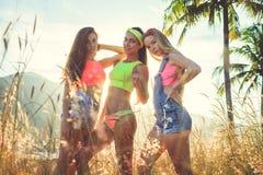 Sommerlebensstilporträt von drei hübschen Freundinnen, die Spaß auf Luft nahe Palme und Meer haben Stockfotografie