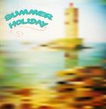 Sommermeerblick mit Leuchtturm vektor abbildung