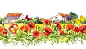 Sommermohnblumen blüht, Schmetterlinge, provencal Häuser Rosafarbener Blumenrand Aquarell wiederholter Rahmenstreifen Stockfotos