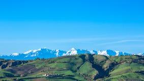 Sommermorgen auf den grünen Hügeln Lizenzfreie Stockfotos