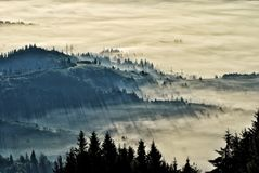 Sommermorgen in den Karpatenbergen Stockfotos