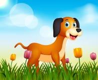 Sommernaturhintergrund mit netter Hundeillustration lizenzfreie abbildung