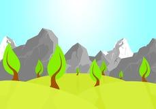 Sommernaturlandschaft mit grünen Hügeln mit Laubbäumen mit Schatten mit braunem Stamm und felsigen Bergen mit Schnee und vektor abbildung