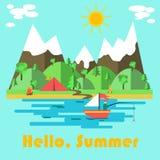 Sommernaturplakat mit hallo Sommeraufschrift auf blauem Hintergrund mit Meer, Boot, Wald und Zelt Auch im corel abgehobenen Betra Vektor Abbildung