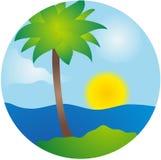 Sommerpalmeninsel-vektorszene Lizenzfreie Abbildung