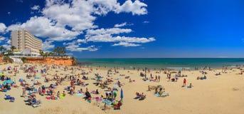 Sommerpanorama mit Strand und Meer lizenzfreie stockfotos