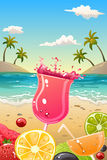 Sommerplakat mit frischer Frucht und Getränken Stockfoto