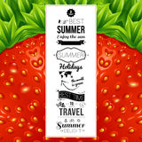 Sommerplakat Optisches Erdbeerhintergrundmuster Vector Kranken Stockfotografie