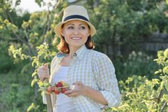 Sommerporträt im Freien der reifen positiven Frau im Strohhut auf Natur lizenzfreies stockbild