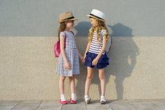Sommerporträt im Freien von zwei glücklichen Freundinnen 7,8 Jahre im sprechenden und lachenden Profil Mädchen in gestreiften Kle lizenzfreies stockbild