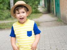 Sommerporträt-Kleinkindjunge im Strohhut lizenzfreie stockfotos