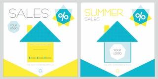Sommerrabatte mit Häusern Stockbilder