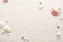 Sommerrahmen von Muscheln u. von Perlen auf weißem Strandsand Stockbilder