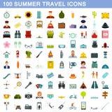 100 Sommerreiseikonen eingestellt, flache Art lizenzfreie abbildung