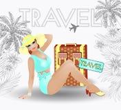 Sommerreisestift herauf sexy Frauen Stockbild