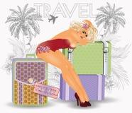 Sommerreisestift herauf sexy Mädchen Stockfoto