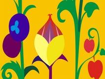 Sommersaisonblumenkarikatur-Vektortapete stockbilder