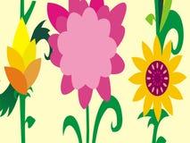 Sommersaisonblumenkarikatur-Vektortapete lizenzfreies stockbild