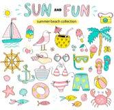 Sommersatz der Sonne und Spaß übergeben gezogene Elemente lizenzfreie abbildung