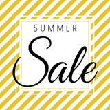 Sommerschlussverkauf auf goldenem weißem Streifenmuster lizenzfreie abbildung