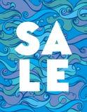 Sommerschlussverkauf bannerVector Farbhandzeichnung Wellen-Seehintergrund Abstrakte Ozeanbeschaffenheit lizenzfreie stockbilder