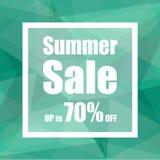 Sommerschlussverkauf bis zu 70% weg mit Polygonzusammenfassungs-Hintergrundart Design für einen Shop und Verkaufsfahnen Stockfotos