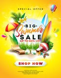 Sommerschlussverkauf-Design mit Blume, Strandurlaub-Elementen und exotischen Blättern auf gelbem Hintergrund Tropischer Blumenvek vektor abbildung