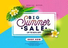Sommerschlussverkauf-Design mit Blume und exotischen Blättern auf abstraktem Farbhintergrund Tropische Blumenvektor-Illustration  Stockfotografie