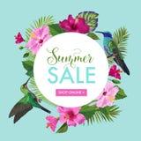 Sommerschlussverkauf-Fahne mit tropischen Blumen und Summenvögeln Blumenschablone für Promo, Rabatt-Flieger, Beleg stock abbildung