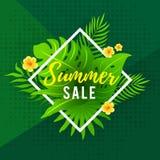 Sommerschlussverkauf-Flieger-Design mit grünem abstraktem geometrischem Hintergrund Lizenzfreie Stockfotografie