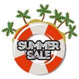 Sommerschlussverkauf, gezeichnete Karikaturfahne des Rabattes Hand Stockfoto
