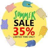Sommerschlussverkauf, große Rabatte Fliegerschablone, Hand gezeichnete Fahne Stockfoto