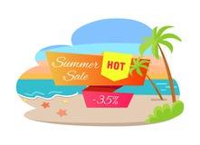 Sommerschlussverkauf-heißes Angebot 35 weg vom Plakat-tropischen Strand vektor abbildung
