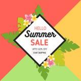 Sommerschlussverkauf-Hintergrund mit tropischen Blättern und Blumen in der realistischen Art und im Rahmen Verwendet für Einladun lizenzfreie abbildung