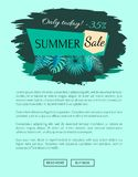 Sommerschlussverkauf mit 35 weg nur heute vom Promo-Emblem lizenzfreie abbildung