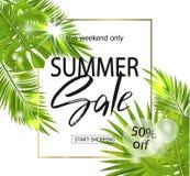 Sommerschlussverkauffahne, Plakat mit Palmblättern, Dschungelblatt und Handschriftsbeschriftung Tropischer Hintergrund Vektor stock abbildung