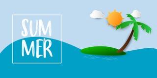 Sommerschlussverkauffahnenvektor-Illustrationsmeer mit Strandpapierkunst lizenzfreies stockfoto