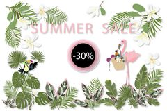 Sommerschlussverkaufschablone für Plakat, Fahne, Postkarte stock abbildung