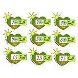 Sommerschlussverkauftags begannen Vektorausweisschablone, 10, 20, 30, 40, 15, 25, 45-Prozent-Verkaufsaufklebersymbole, Rabattförd lizenzfreie abbildung