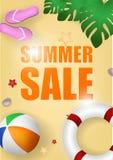 Sommerschlussverkaufvektorhintergrund Jahreszeitrabatt mit Rettungsringillustration Realistisches Plakat des Sonderangebots stock abbildung