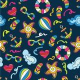 Sommerseefeiertagshintergrund Vector nahtloses Muster Stockbild