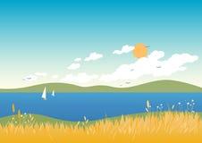 Sommerseelandschaft lizenzfreie abbildung