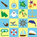 Sommerseereisengekritzel-Materialsatz Lokalisierte Einzelteile auf Farbhintergrund Stockfotos