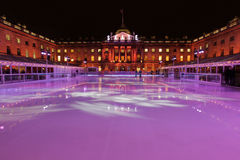 Sommerset House ice rink. Beautifully lighted at night stock photos