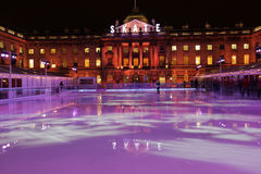 Sommerset House ice rink. Beautifully lighted at night stock photography
