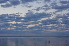 Sommersonnenuntergang auf dem Finnischen Meerbusen in Russland Lizenzfreie Stockfotografie